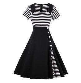 Vintage Retro Black And White Striped Dress