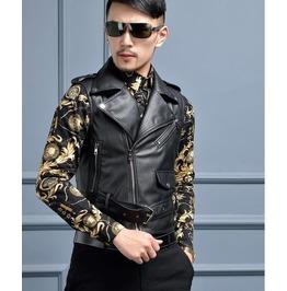 Mens Leather Vest Sleeveless Motorcycle Jacket Short Black Asian Size