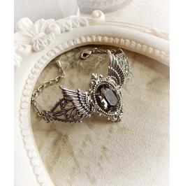 Gothic Winged Bracelet Silver Jewel Bracelet Victorian Ornate Bracelet