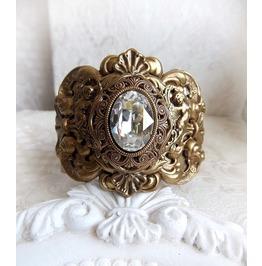 Aged Brass Crystal Victorian Bracelet Handmade Jewelry