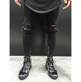 Mens Jeans Knees Ripped Skinny Pants