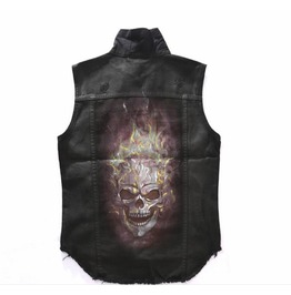 Flaming Skull Denim Vest Sleeveless Jacket Explosive Badass Mofo