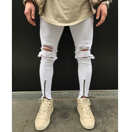 Men's White Jeans Knees Ripped Slim Fit Denim Pants