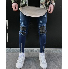 Men's Blue Denim Pants Slim Fit Trousers Jeans