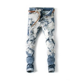 Fashion Mens Washed Ripped Jeans Slim Fit Trousers