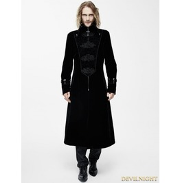 Black Velvet Chinese Knot Gothic Vintage Long Jacket For Men Ct06601