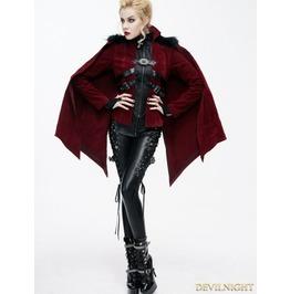 Red Gothic Velvet Short Jacket Cape For Women Ct06502