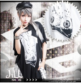 Punk Visual Anime Possessed Doll Eyeball Specimen Baggy Long Tshirt Jag0012