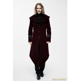 Red Gothic Velvet Palace Style Long Jacket With Black Hem For Men Ct05502