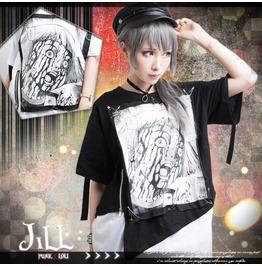Punk Visual Anime Haunting Spirit Layered Look Baggy Long Tshirt【Jag0011】