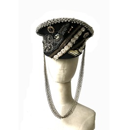 Studded Police Cop Captain Hat Halloween Outfit Accessory