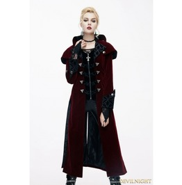 Red Gothic Vintage Palace Style Long Jacket For Women Ct05902
