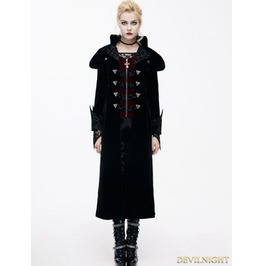Black Gothic Vintage Palace Style Long Jacket For Women Ct05901