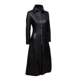 Gothic Ladies Vampire Coat Black Soft Women Lamb Leather Full Length Coat