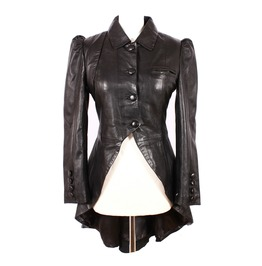 Gothic Victorian Genuine Leather Jacket Black Ladies Poison Flare Coat