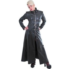 Women Pure Leather Gothic Coat Black Steampunk Long Tailor Color Coat