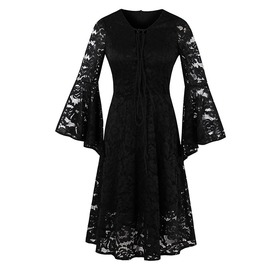 Flare Sleeve Lace Hollow Lace Up A Line Black Gothic Dress