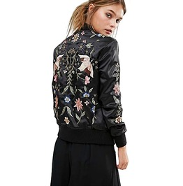 Black Floral Birds Embroidered Bomber Jacket Ladies