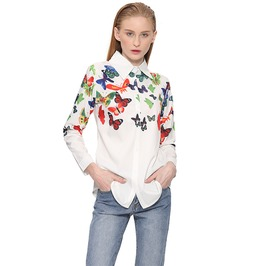 Floral Butterfly Print Long Sleeve White Blouse Top Women