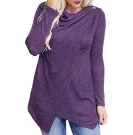 O Neck Long Sleeve Asymmetrical Top Cardigan Women