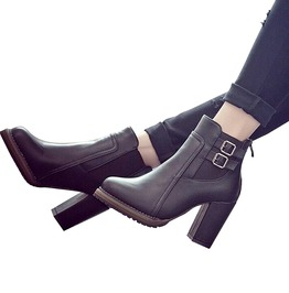 Thick High Heel Double Buckle Elastic Zip Pu Leather Ankle Boots Women