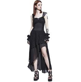 Lace Mesh Rivets Pu Leather Straps Asymmetric Black Gothic Dress