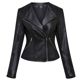 Big Lapel Collar Punk Goth Pu Leather Slim Short Jacket Women