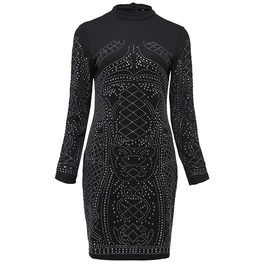 Stand Collar Patchwork Beaded Bodycon Gothic Dress