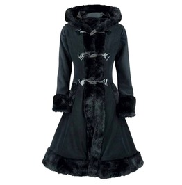 Victorian Gothic Retro Black Flock Hooded Overcoat Trench Coat Women