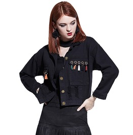 Lapel Collar Tassel Patchwork Gothic Casual Denim Jacket Women