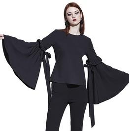 Big Bow Flare Sleeve O Neck Black Club Gothic Top Shirts Women