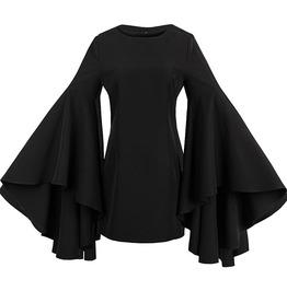 Black Flare Sleeve Straight Gothic Retro Mini Dress