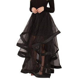 Black Mesh Patchwork Long Elegant Gothic Maxi Skirt