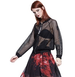 Black Hollow See Through Short Gothic Jacket Women
