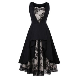 Gothic Vintage Lace Patchwork Black Dress