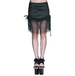 Women's Black Tassel Mini Skirt