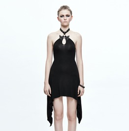 Women's Black Haltered Cocktail Dress