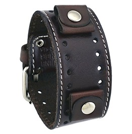Nemesis #Sth Bb Dark Brown Wide Leather Cuff Wrist Watch Band