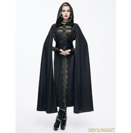 Black Gothic Vintage Style Coat Cape For Women Ct071