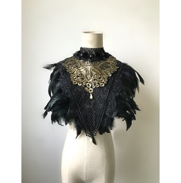 Handmade Steampunk Feather Collar Halloween Party Gothic Cape