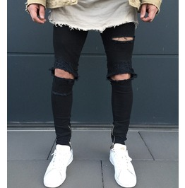 Knee Ripped Men Skinny Jeans Slim Fit Mens Denim Pants
