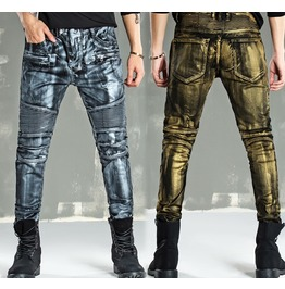Metal Rock Men Skinny Jeans Slim Fit Pants