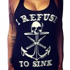 Rebelsmarket anchor skull i refuse to sink print tank top women tanks tops and camis 4