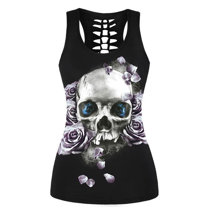 2d43ced55030c1 3 D Print Skulls Flowers Hollow Out Back Punk Tank Top Women