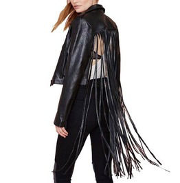 Punk Pu Leather Hollow Out Back Tassels Short Motorcycle Jacket Coat