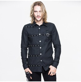 Men's Party Stud Black Long Sleeve Shirt