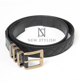 Gold Metal Buckle Leather Contrast Black Belt 65