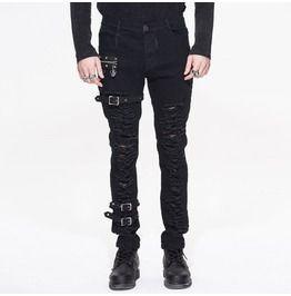 Punk Black Mens Cotton Pants Zipper Cool Goth Pants Slim Fit Skinny Trousers sz