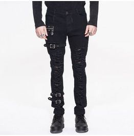 Gothic Punk Heavy Metal Black Men's Rugged Trousers