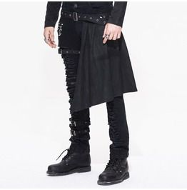 Gothic Er Punk Heavy Metal Black Men's Trousers With Removable Kilts